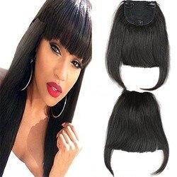Brazilian Human Hair Bangs Clip in Hair Blunt Full Fringe Short Straight Hair Extension for women 100% Virgin Hair 6-8inch