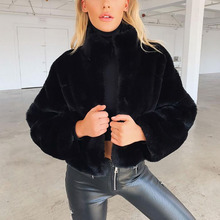 Elegant Faux Fur Coat With Hooded fourrure Slim Rabbit Fur Coat Warm Long Sleeve Female Outerwear bontjas Winter Short Jacket 25 faux shearling hooded coat