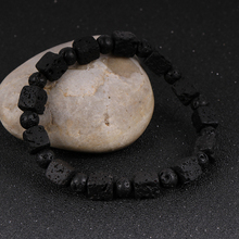 Men Natural Stone Volcanic Black Lava Rock Cube Round Beads Stand Bracelet Diffuser Beads Wrist Chain Bangle Female Jewelry natural black volcanic lava stone dumbbell bracelet turquoise beads bracelets for women men fitness barbell jewelry pulseras