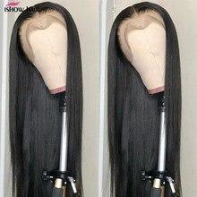 Ishow malezyjski włosów Lace Frontal peruka 13x4 koronkowa peruka wstępnie oskubane środkowa część 4x4 peruki typu Lace front dla czarnych damskie ludzkie włosy koronkowa peruka