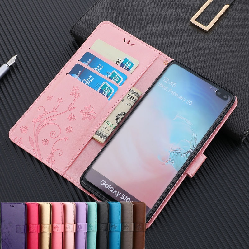 Butterfly PU Leather Case For Samsung J4+ J6+ M10 20 A20E Flap With lanyard Cover For Samsung S10lite note10 A10 30 50 70 <font><b>60</b></font> <font><b>40</b></font> image