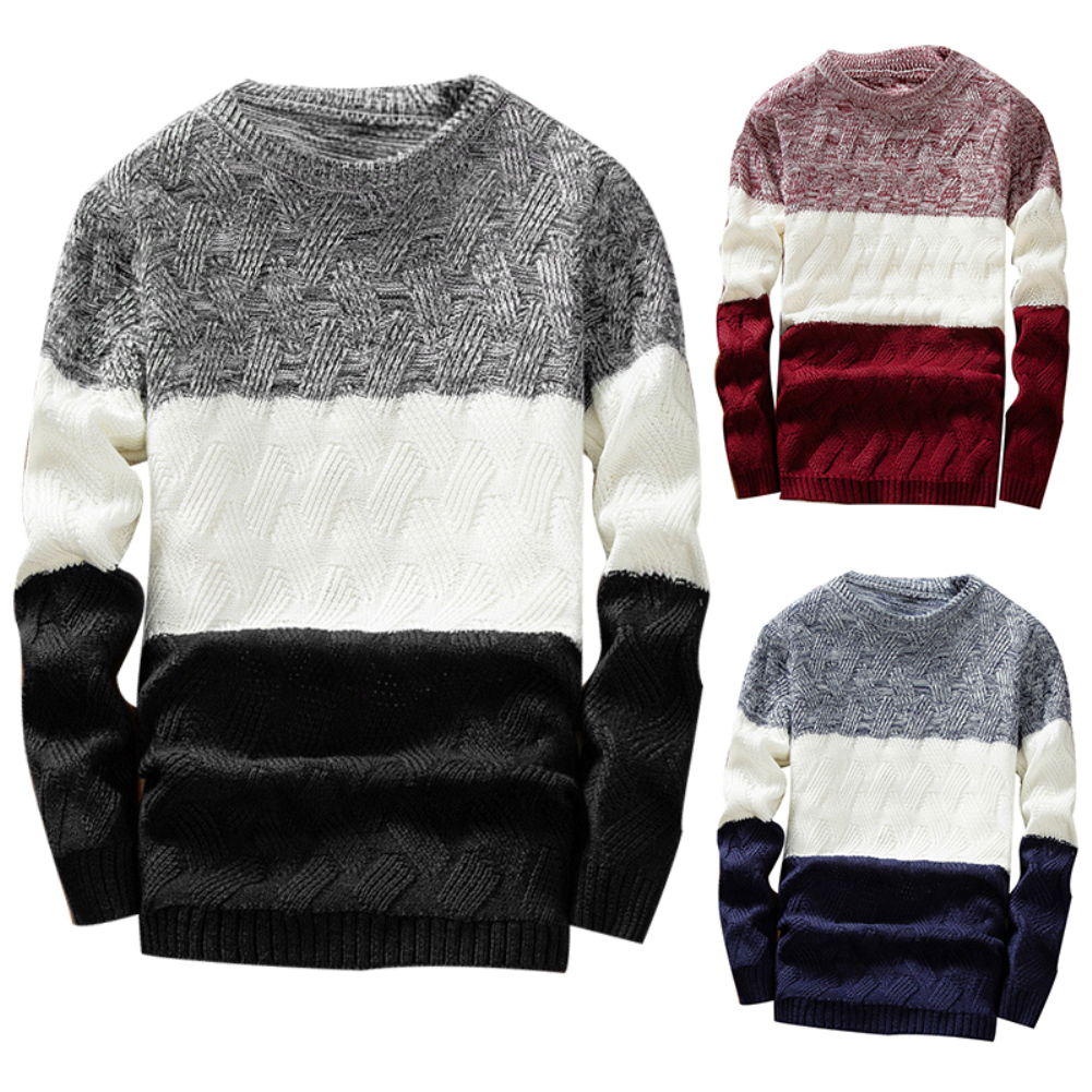 Winter Men O Neck Long Sleeve Color Block Patchwork Knitted Pullover Sweater Men's pattern patchwork round neck Sweater 2