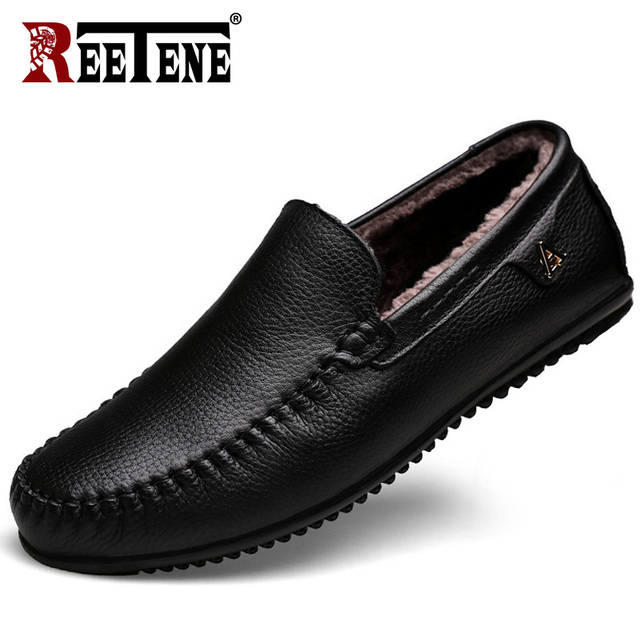 REETENE Genuine Leather Loafers High Quality Men's Driving Shoes Casual Shoes Men's Split Winter Warm Fashion Men Loafers