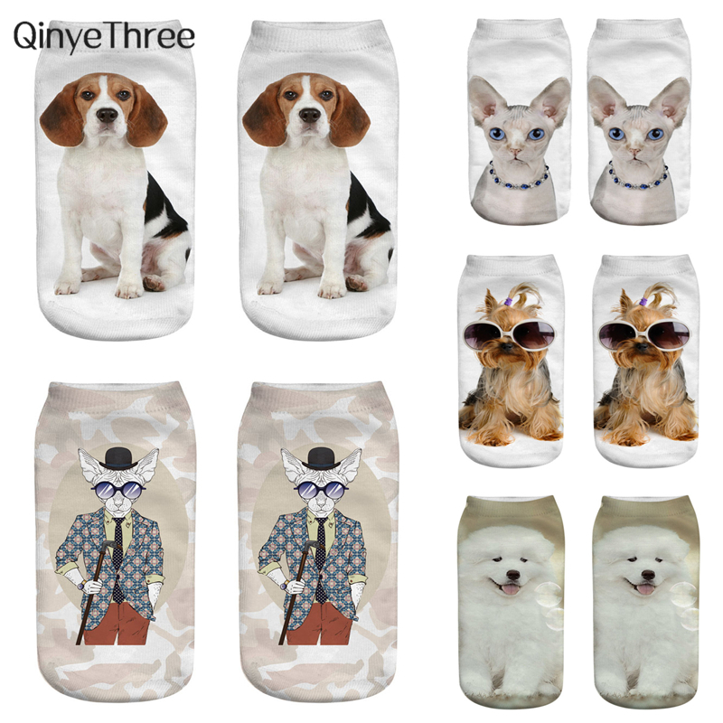 New Fashion Cute Dog 3D Printing Socks Women Ankle Socks Happy Animal Sock Art Puppy Hosiery Cool Dog Life Sox Dropship