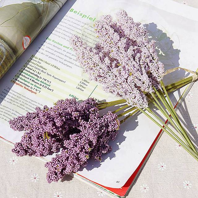 1 bouquet Provence Lavender Artificial Flowers High Quality Flower For Home Decor Grain Decorative Fake Plant silk flowers 5