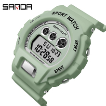 Male Watch SANDA Digital Multifunction Waterproof Women Luxury Unisex Sport Rectangle