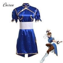 ゲームコスプレ衣装 Sutorito Faita ブルーチャイナドレスベルトのための女性の服