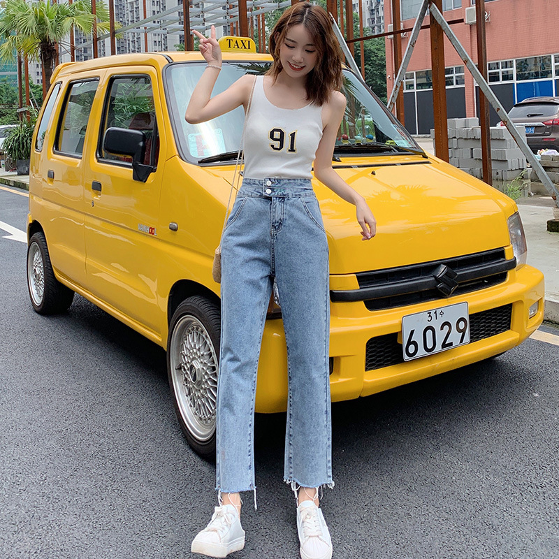 2019 Autumn New Style Two-Button High-waisted Slimming Cowboy Loose Pants Women's Fringed Straight-Leg Denim (Ankle-length Pants