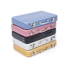 Mini Suitcase Business Card Holder Alloy Aluminum Metal Box Credit Card Wallet Business Card Case Stationery Desk Organizer