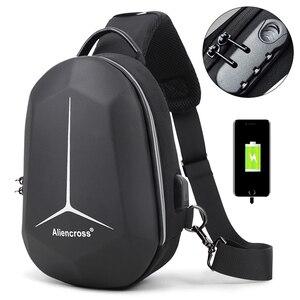 Image 1 - 2020 New Multifunction Shoulder Bag for Men Waterproof Short Trip Chest Bag Anti Theft Men Crossbody Bags Oxford USB Charging