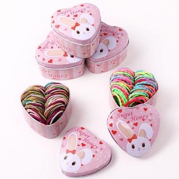 Oaoleer accesorios para el cabello 50 unids/pack Scrunchies para niñas elástico colorido para el pelo diademas de purpurina para el pelo de las niñas sombreros