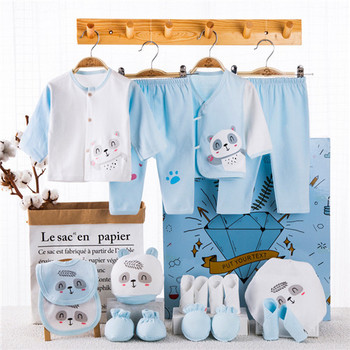 18 Piece/lot Newborn Baby Gift Set Combed Cotton Clothes Infant Girl Rompers Pure Suits Soft Autumn Boys Clothing Without Box - 18pcs-D, Newborn