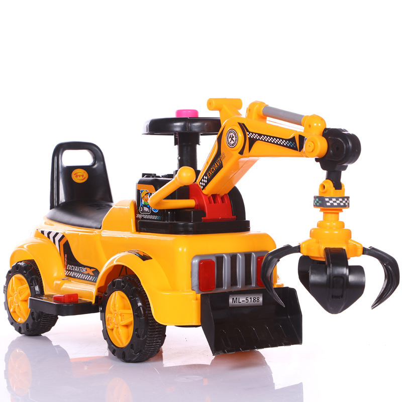 Children's Toy Excavator Can Sit To Ride Baby Large Excavator Music Engineering Baby Walker BOY'S Excavator