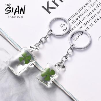SIAN Lucky Four Leaf Clover Glass Keychain 3 Styles Natural Green Exquisite Alloy Key Chain for Friends Birthday Jewelry - discount item  39% OFF Fashion Jewelry