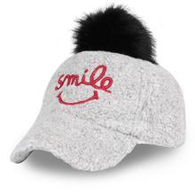 Fur Pompom Warm Winter Fitted Baseball Cap Children Smile Embroidery Snapback Visor Kids K Pop Cotton Gray Adjustable Unisex
