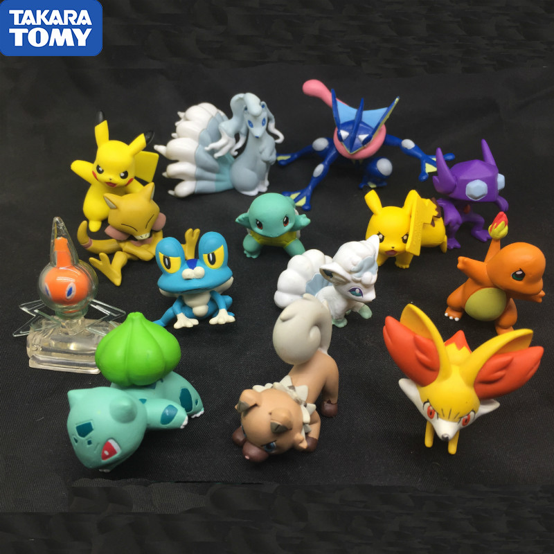 Takara Tomy Pokemon 4cm Action & Toy Figures Bulbasaur Charmander Squirtle Pikachu Handmade Doll Children's Gifts