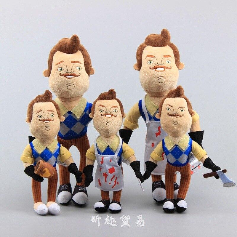 Novo 30cm olá vizinho avental cleaver brinquedos de pelúcia macio recheado jogo boneca natal aniversário crianças presente brinquedos para crianças