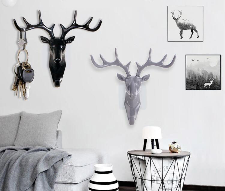 Rack Deer Hook Wall Hook Key Animal Head Antlers Home Hanging Clothes Hat Scarf Hook Family Living Room Decoration