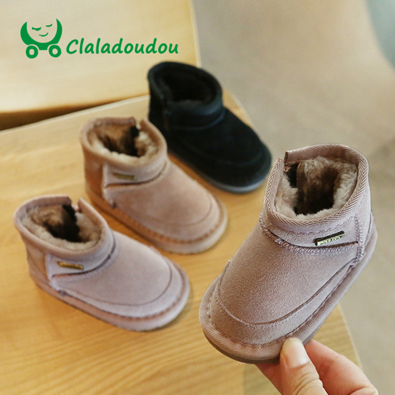 Claladoudou 12-15.5CM Brand Winter Plush Baby Girls Snow Boots Shoes Genuine Leather Flat With Baby Toddler Shoes Outdoor Flats