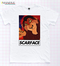 Scar Tee Face Little Friend Villain Lion Tee King Film Retro Princess Indie Top 100% Cotton Short Sleeve O-Neck Tops Tee Shirts стоимость