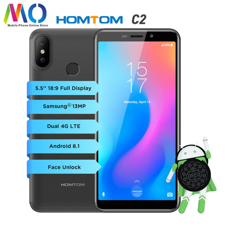 Global Version HOMTOM C2 Mobile Cell Phone 5 5inch 2GB 16GB 3000mAh18 9 Face ID 4G