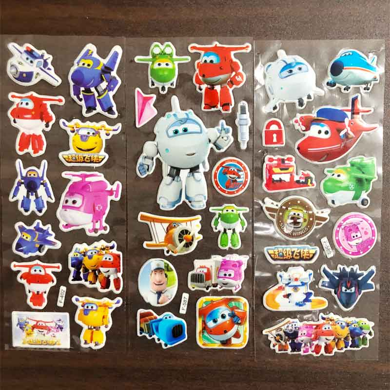 Super Wings Toy car Stickers 3D Children's Cartoon Tattoo stickers Bubble Paste Thicken The Reward Stickers Kids Toys Gifts