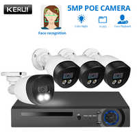 KERUI H.265 4Channel POE Security Camera System Kit 5MP Two-Way Audio Night Vision Video Surveillance System NVR Poe CCTV Kit