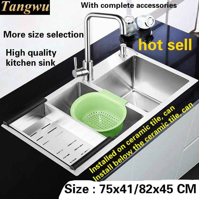 Free Shipping Deluxe Big Kitchen Sink Manual Double Groove 4MM Thick Food Grade 304 Stainless Steel Durable 75x41/78x43/82x45 CM