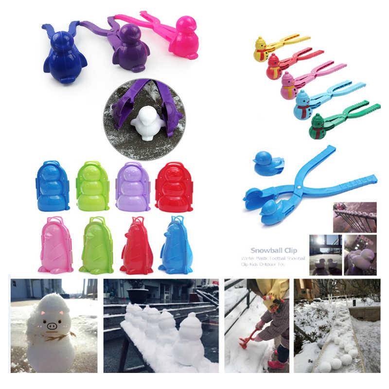 الشتاء الاطفال صانع كرة الثلج كليب الكرتون بطة نموذج قالب كرة الثلج اللعب ثلج صنع أداة الأطفال في الهواء الطلق لعبة رياضية