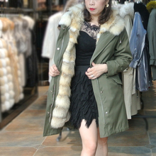 купить natural real fox fur Jacket coat Real Fox Fur Collar Hooded Coat Parka Long liner detachable into 2 pieces winter women jacket дешево