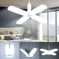 E27 светодиодный светильник, 220 В, Складной вентилятор, лопасть, светильник, 60 Вт, 45 Вт, 6500 К, регулируемые лампы, холодный белый свет для дома, к...
