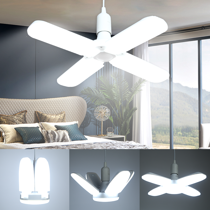 E27 LED Bulb 220V Light Foldable Fan Blade Light 60W 45W 6500K Adjustable Lamp Bulbs Cold White For Home Kitchen Indoor Lighting