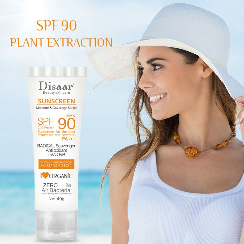 Disaar Facial Body Sunscreen Cream Beauty Skin Care Spf Max 90 Oil Free Radical Scavenger Anti Oxidant UVA/UVB 40g Sunblock