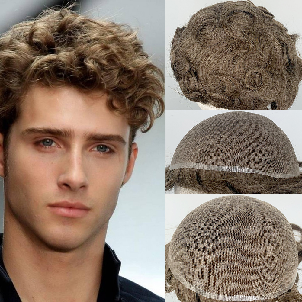 YY Wigs Men's Toupee Human Hair Replacement System #18 Blonde Curly 8x10 Human Hair Toupee For Men 6 Inch Full Swiss Lace Toupee