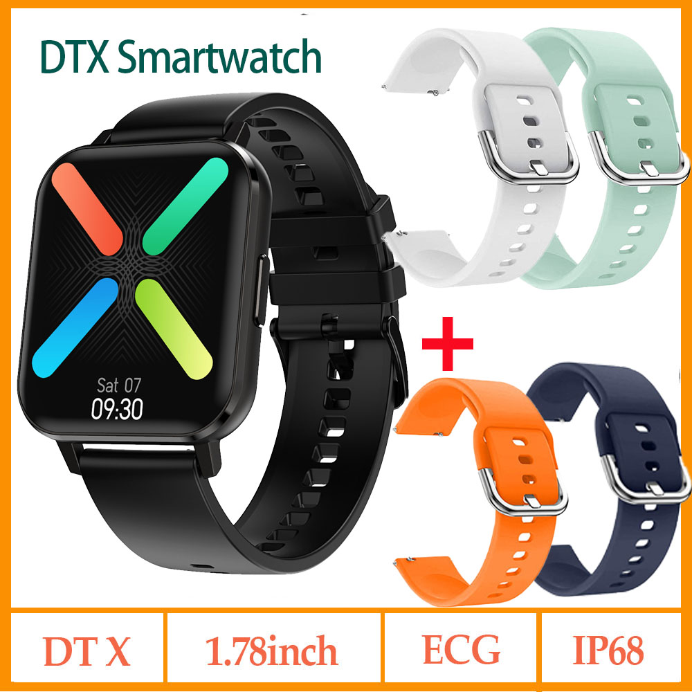 <font><b>NO</b></font>.<font><b>1</b></font> DTX <font><b>SmartWatch</b></font> IP68 Waterproof <font><b>DT</b></font> X <font><b>1</b></font>.78inch Colorful Screen ECG Heart Rate Sleep PK iwo 12 P8 W34 Smart watch image