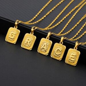 Minuscule carré A-Z or lettres initiales pendentif à breloque colliers pour femmes en acier inoxydable or Alphabet anglais ABC chaîne bijoux