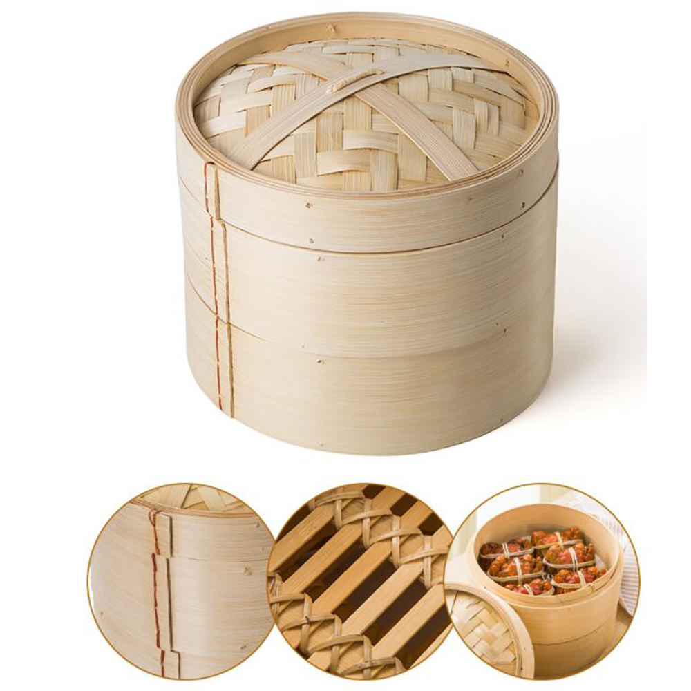 One Cage Lid Bamboo Steamer For Fish Vegetable Snack Basket Set Kitchen Cooking Tools Dumpling Steamer 2019 New