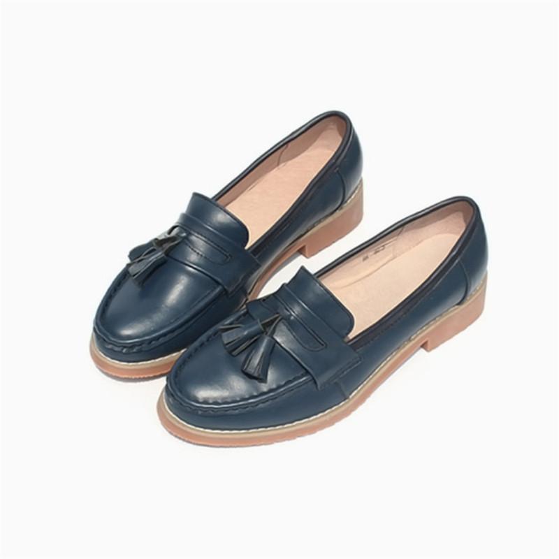Spring Autumn New Pedal Genuine Leather Loafers Shoes Women British Polished Flat Tassel Oxford Shoes For Woman Large Size 32-43 (52)