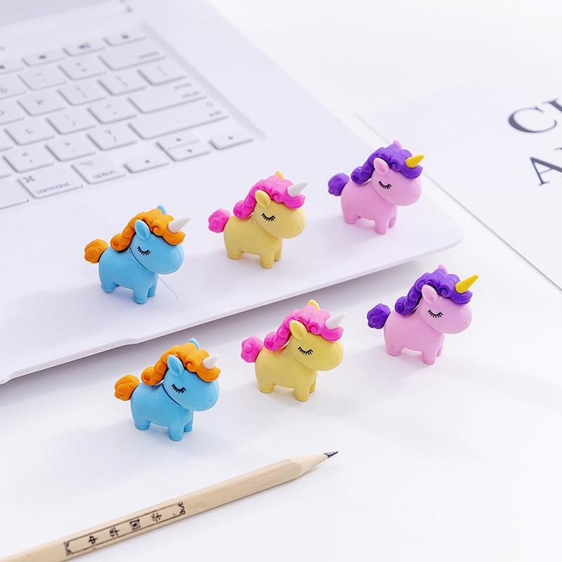 Cute Cartoon Unicorn Eraser DIY Creative Kids Eraser As Teacher's Prize In School 36pcs/lot