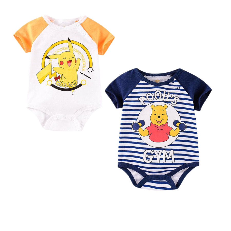 New Summer Baby Clothes Pokemon Cartoon Baby Boys Romper One-Piece Infant Bebe Girls Troddler Onesie Cotton Bear Jumpsuit