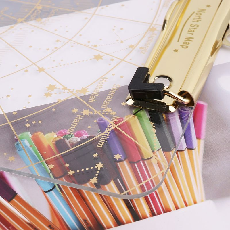A4 Starry Sky Transparent Clipboard Writing Pad File Folders Document Holders School Office Stationery