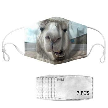HYCOOL Reusable Women Men Kids Mouth Mask 3D Animal Alpaca Print Fashion Casual  Mouth-muffle Face Masks Decoration Mask