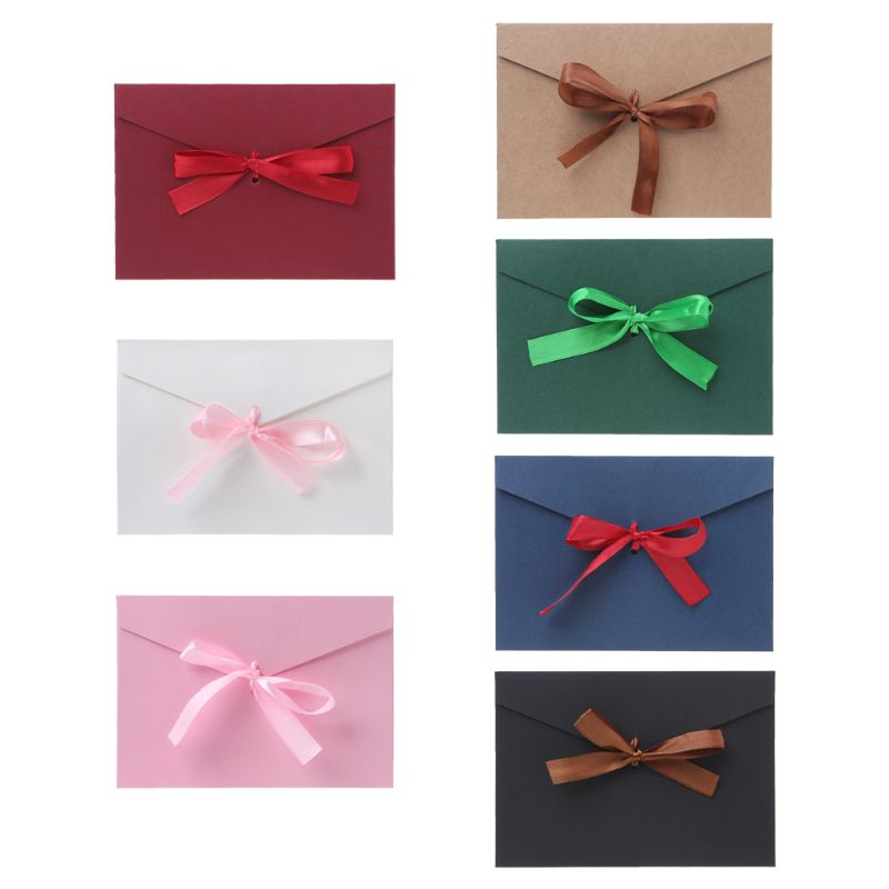 10pcs Retro Vintage Blank Bow Paper Envelopes For Letter Greeting Cards Wedding Party Invitations Postcard