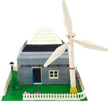 2pcs City creator mini windmill Building block wind power generation Model DIY self-locking Bricks Farm Wind energy Accessories