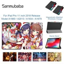Sanmubaba Case For iPad Pro 11'' A1934 A1979 A1980 A2013 PU Leather Flip Stand Smart Cover Cartoon Tablet Auto Sleep/Wake