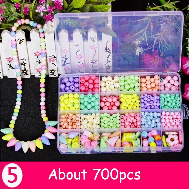 460-750 pièces bricolage à la main perles jouets avec accessoire ensemble couture enfants artisanat bijoux mode Kit jouet pour filles cadeau