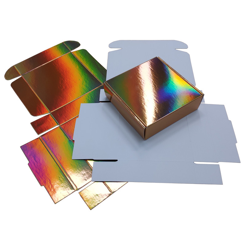20 Pieces Gold Holographic Folding Paper Box Light Reflection Gift Packaging