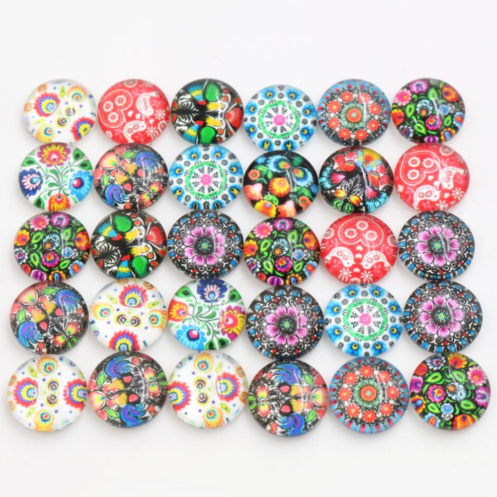 50pcs/Lot 12mm Baroque Style Photo Glass Cabochons Mixed Color Cabochons For Bracelet Earrings Necklace Bases Settings-E2-40