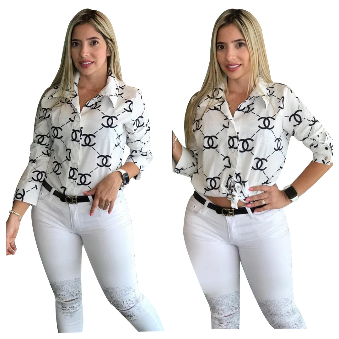 New Blouses Women Shirts Autumn Loose White Lapel Button Fashion Long Sleeved Shirt Female Blouses on AliExpress