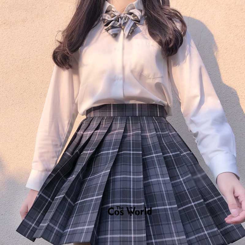 [Smoky Gray ] Girl's Summer High Waist Pleated Skirts Plaid Skirts Women Dress For JK School Uniform Students Cloths